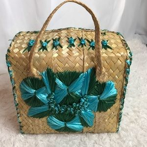 Vintage Straw Box Handbag